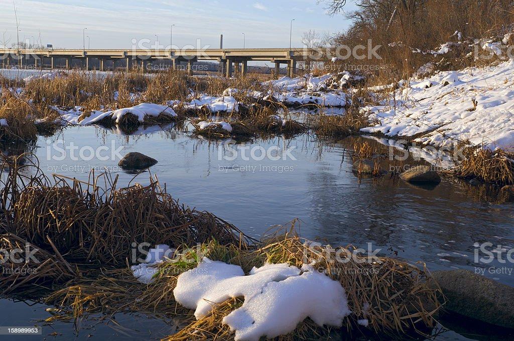 Minnesota River Banks and Bridge royalty-free stock photo