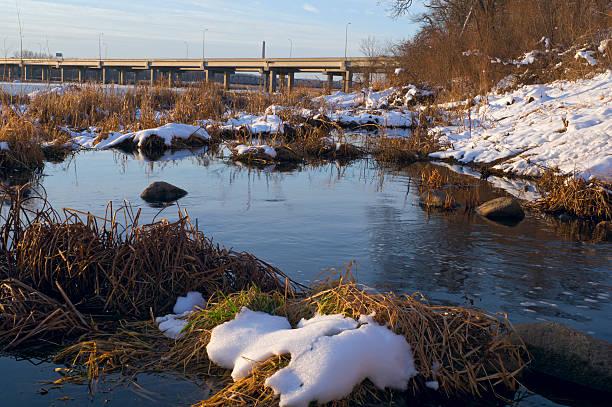 Minnesota River Banks and Bridge stock photo
