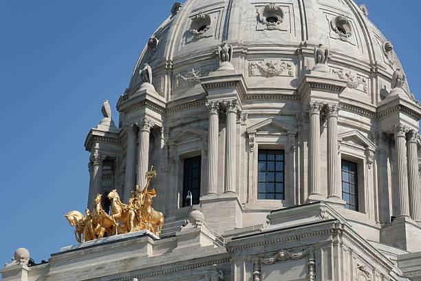 ミネソタ州議会議事堂ドーム、政府建物外装の詳細、聖 paul - 柱頭 ストックフォトと画像