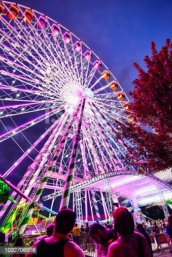 Falcon Heights, MN, USA. 09/021/2018: The Annual Minnesota State Fair. Also known as Great Minnesota Get Together takes place Aug. 23 – Labor Day, Sept. 3, 2018. Rides at the fair at Dusk.