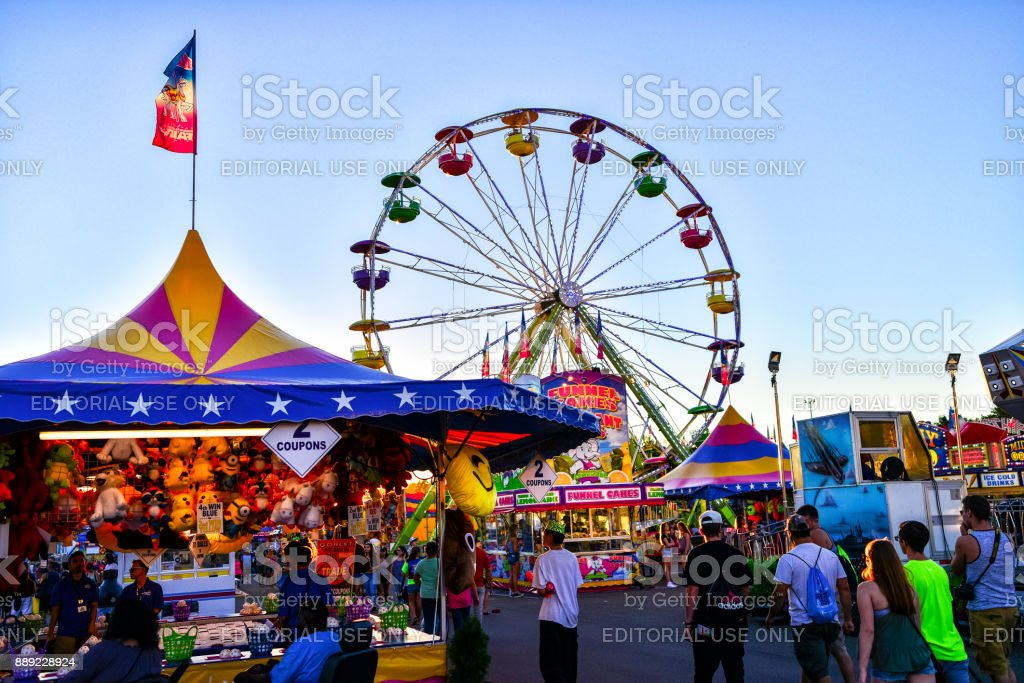 Minnesota State Fair Midway Games and Rides stock photo