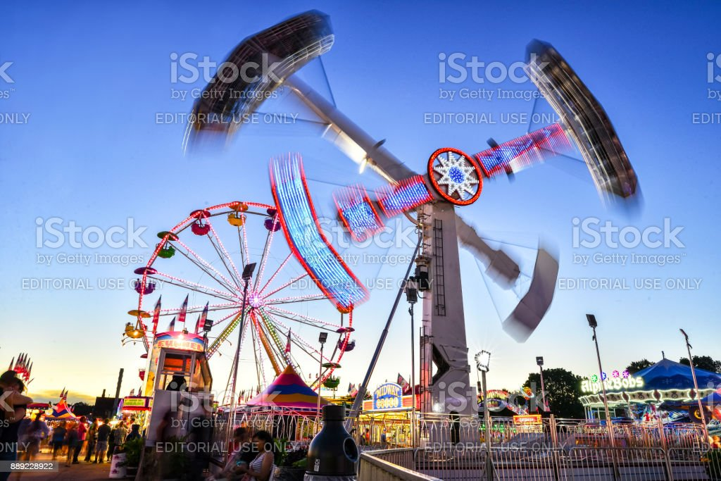 Minnesota State Fair Midway Rides In Motion Stock Photo