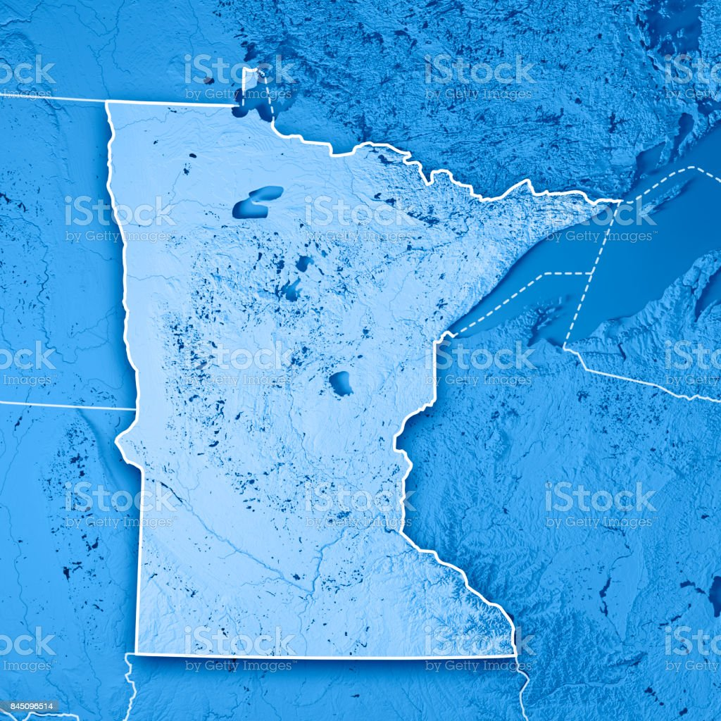 Minnesota State Usa 3d Render Topographic Map Blue Border Stock ...