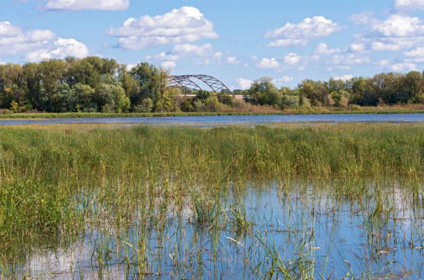 minnesota valley refuge and bridge in bloomington stock photo