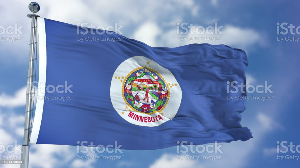 Minnesota Waving Flag stock photo