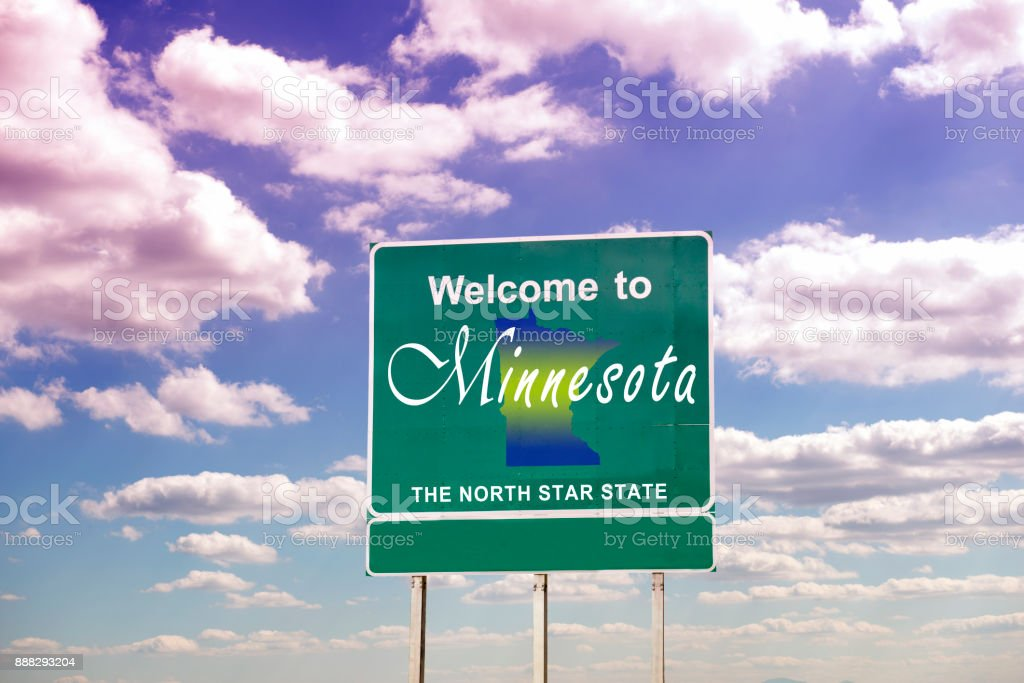 Minnesota, Welcome road sign stock photo