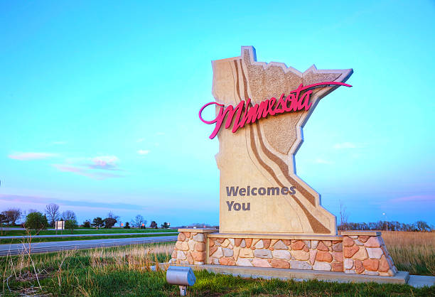 Minnesota welcomes you sign stock photo