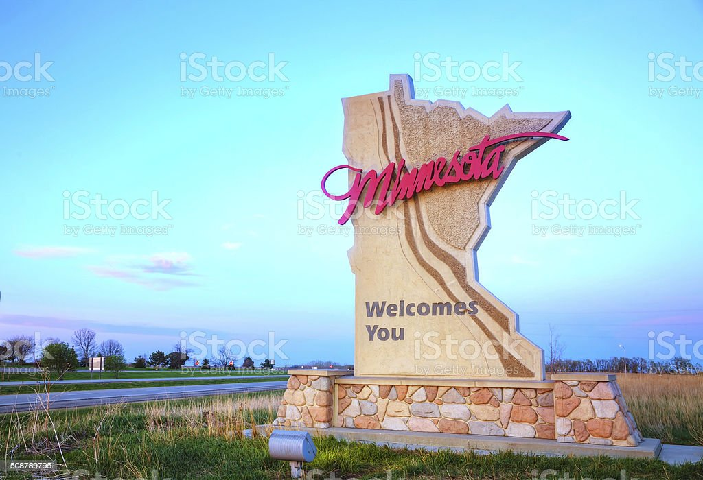 Minnesota welcomes you sign stock photo