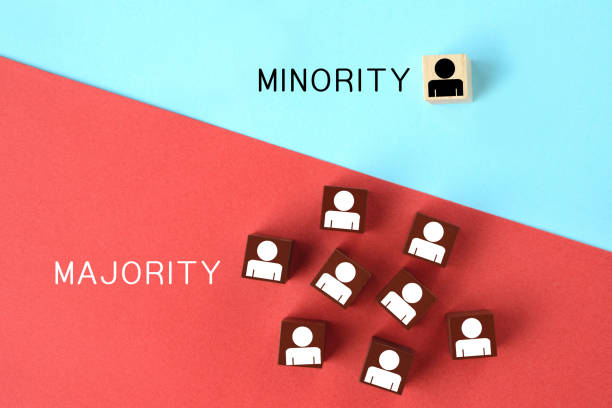 Minority and majority images stock photo