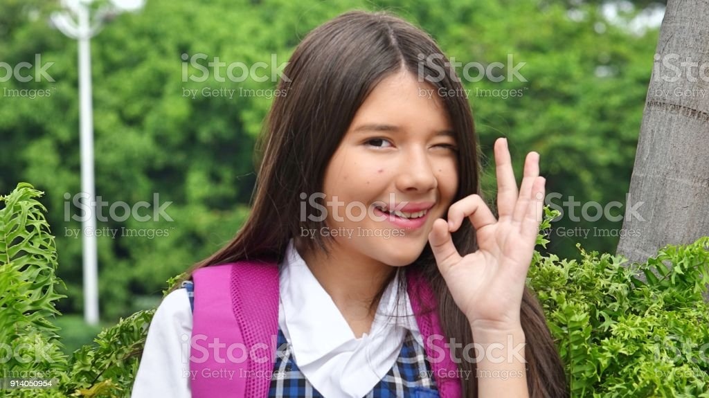 Minority Female Student And Okay Sign stock photo