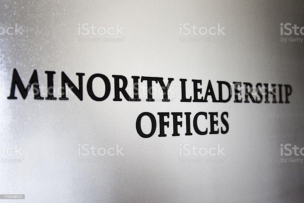 Minority Leadership Sign stock photo
