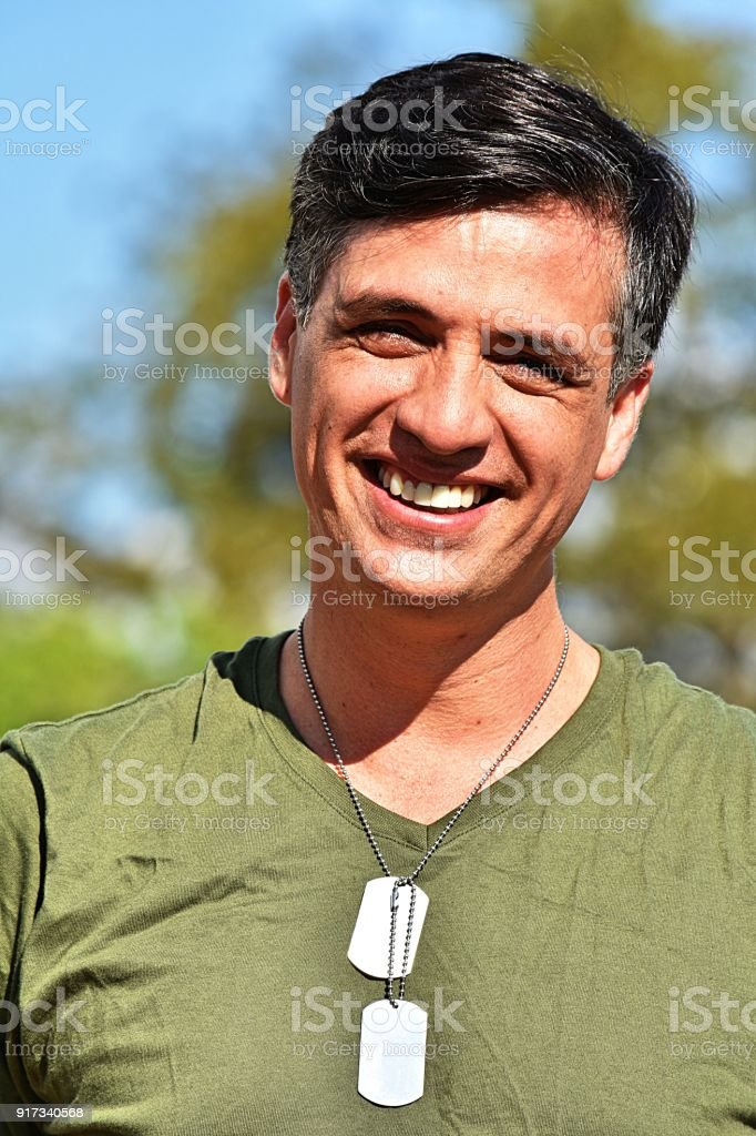 Minority Male Soldier Smiling stock photo