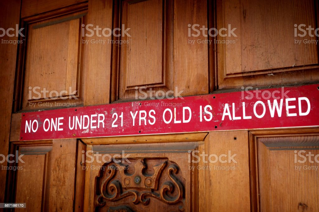 minors not allowed sign stock photo