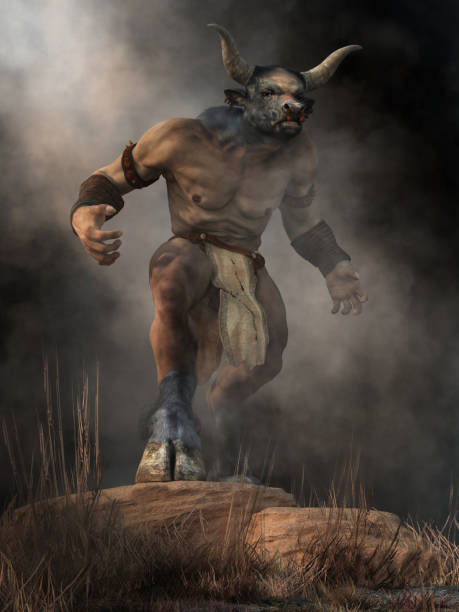 Minotaur The Minotaur, half man half bull, stands on a rock in an aggressive stance, a monster of ancient Greek myth, emerges from the mists of legend and glares at you with a menacing look. 3D Rendering bull animal stock pictures, royalty-free photos & images