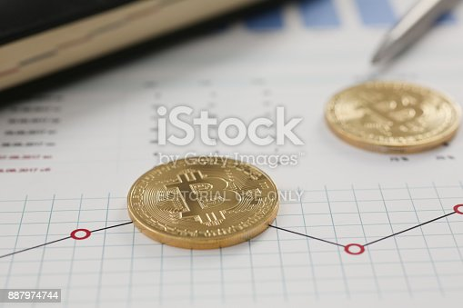 Minsk Belarus 5 December 2017 Golden Bitcoin Stock Photo