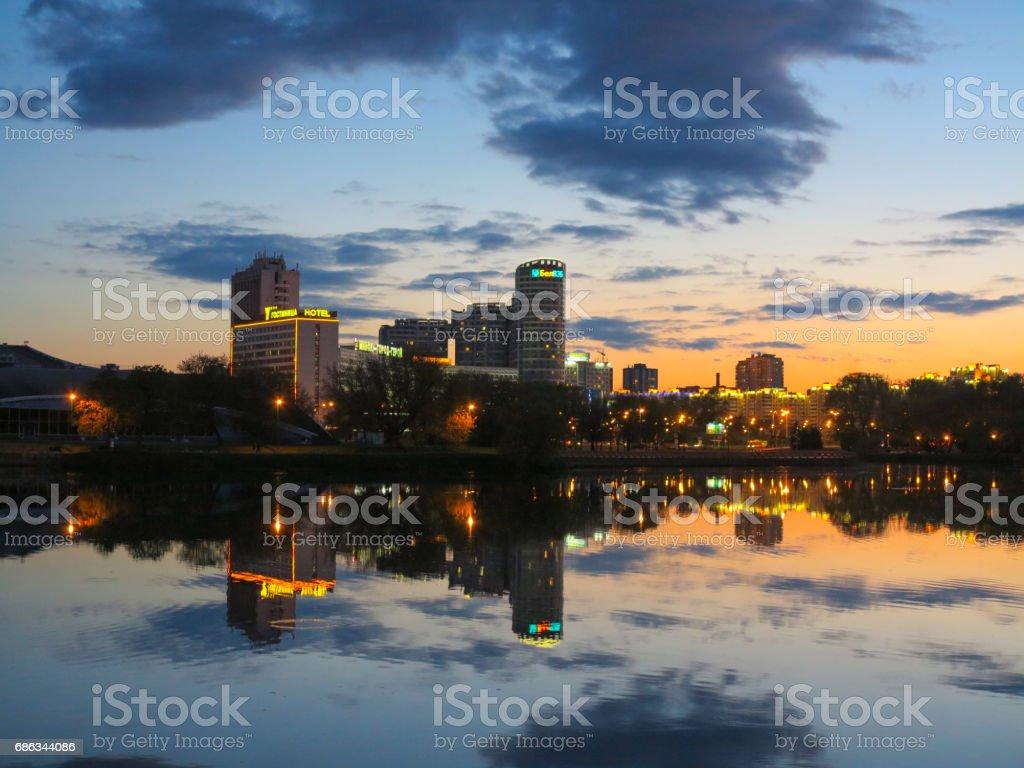 Minsk by night skyline stock photo