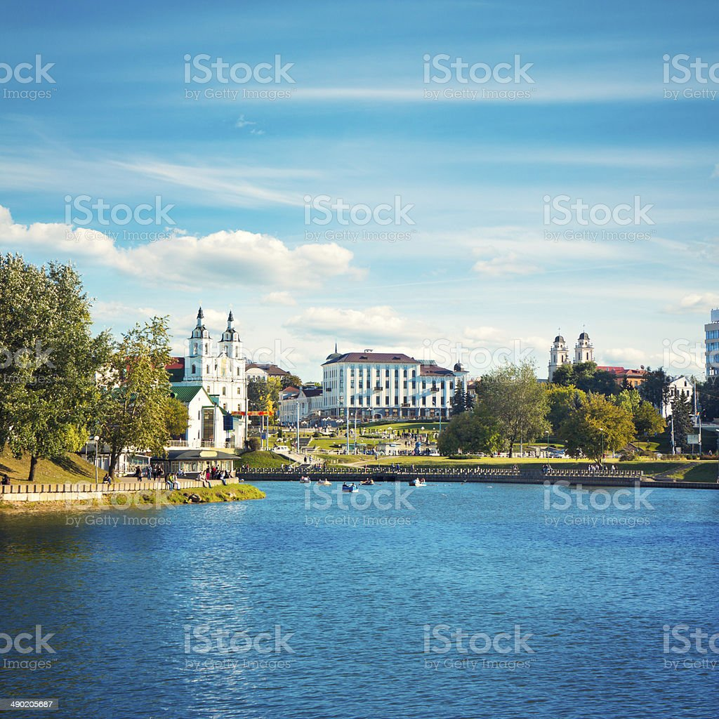 Minsk Historical Center View with Svisloch River stock photo