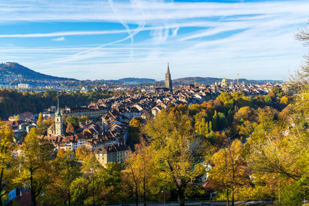 Minster cathedral and roofs of old city aerial view, Bern stock photo