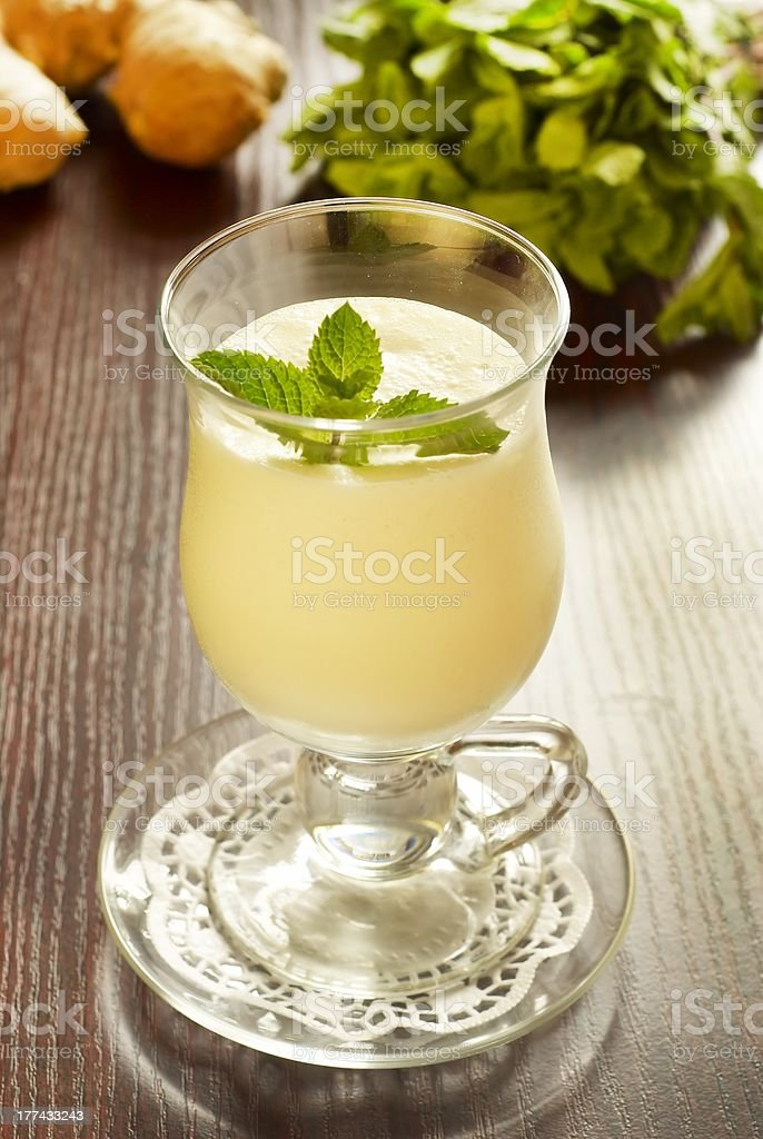 Mint and ginger cocktail with ice cream royalty-free stock photo