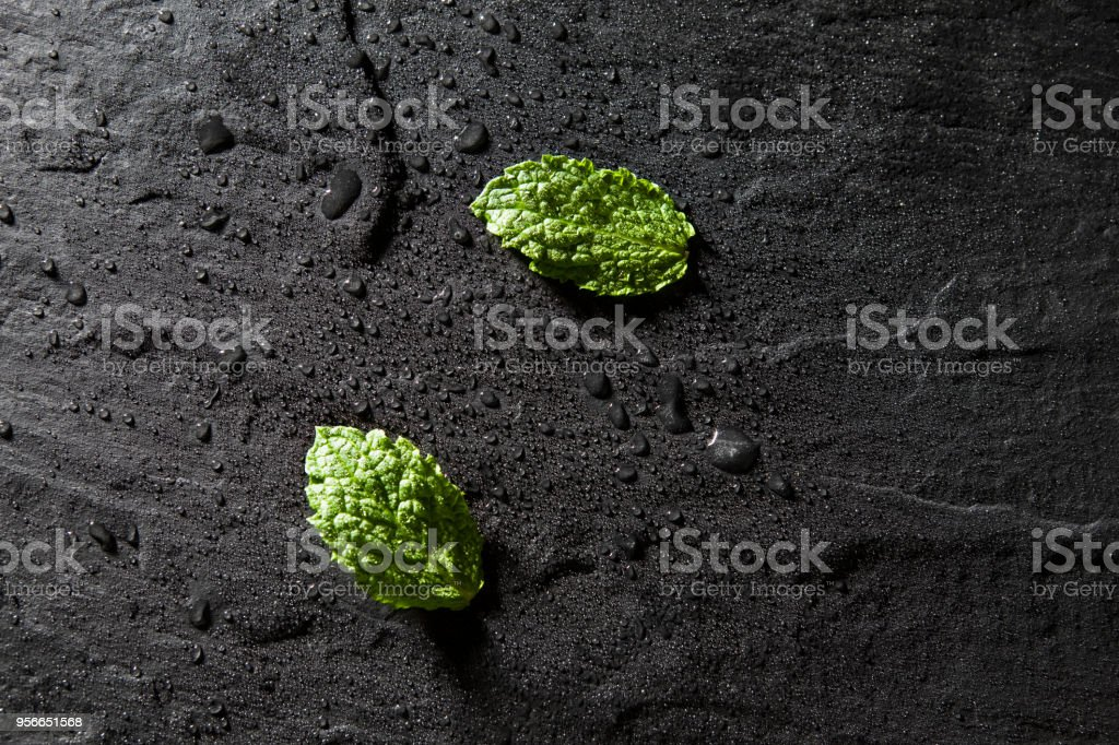 Mint leaves on stone table. Top view with copy space