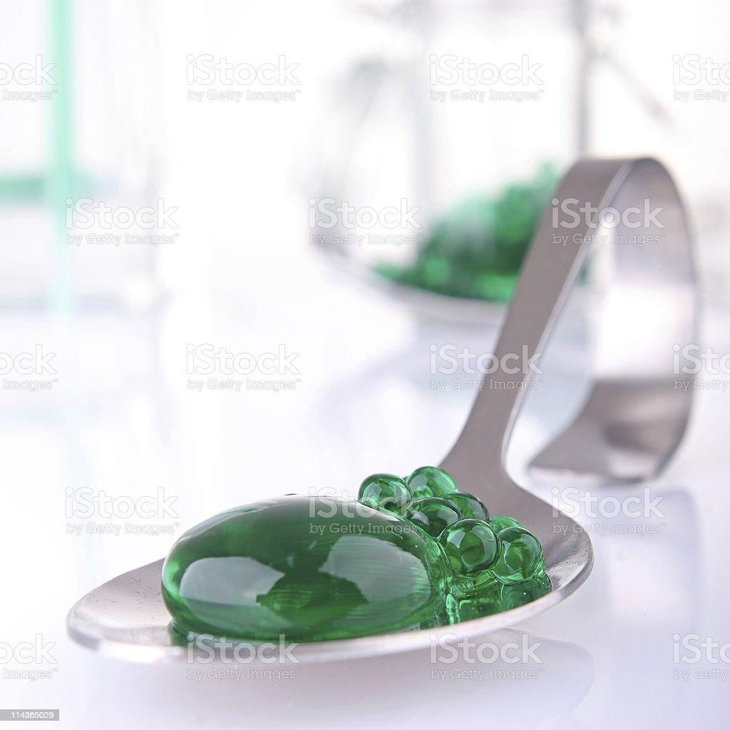 mint caviar, molecular cuisine stock photo