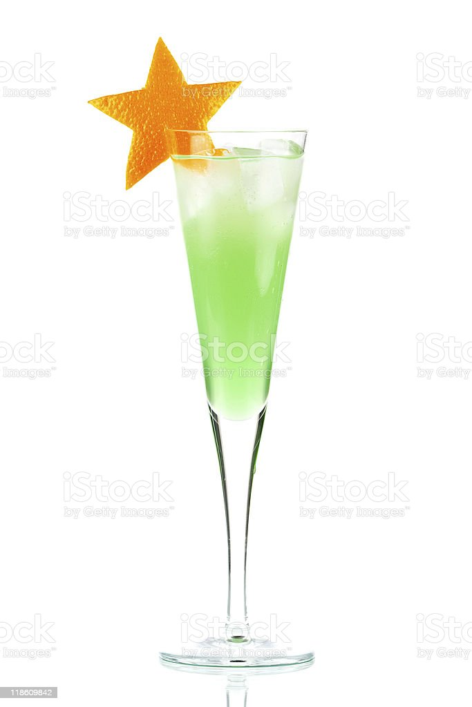 Mint Champagne alcohol cocktail with orange star royalty-free stock photo
