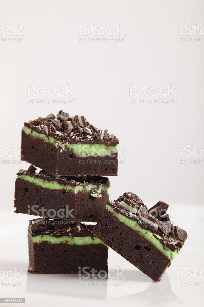Mint Chocolate Fudge Brownies royalty-free stock photo