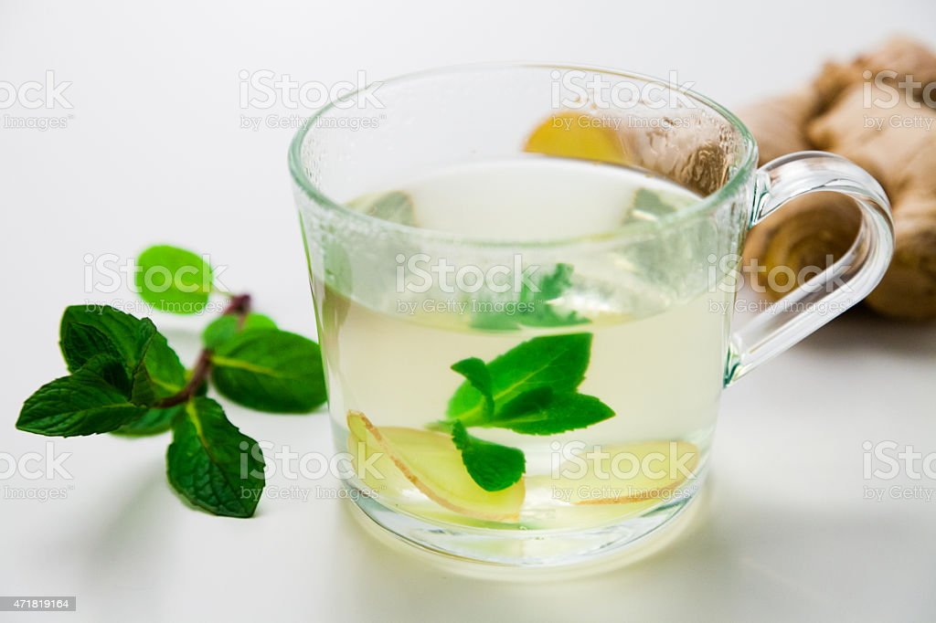 Mint Ginger Tea with white Background stock photo
