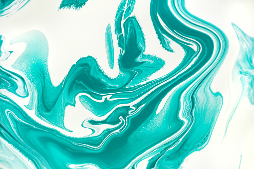 Mint green and white paint marbling flow background. Contemporary fluid art raster illustration. Acrylic, aquarelle mixing effect abstract backdrop. Watercolor dynamic texture close up