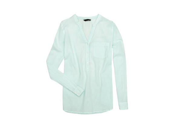 Mint green blouse. Fashionable concept. Isolated. White background stock photo