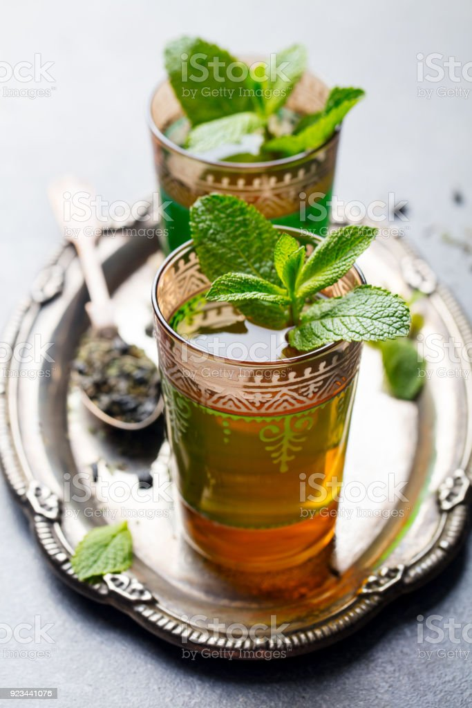 Mint, green tea, Moroccan traditional drink. stock photo