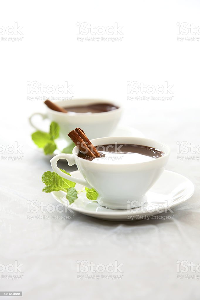 mint hot chocolate in white cups with cinnamon sticks royalty-free stock photo