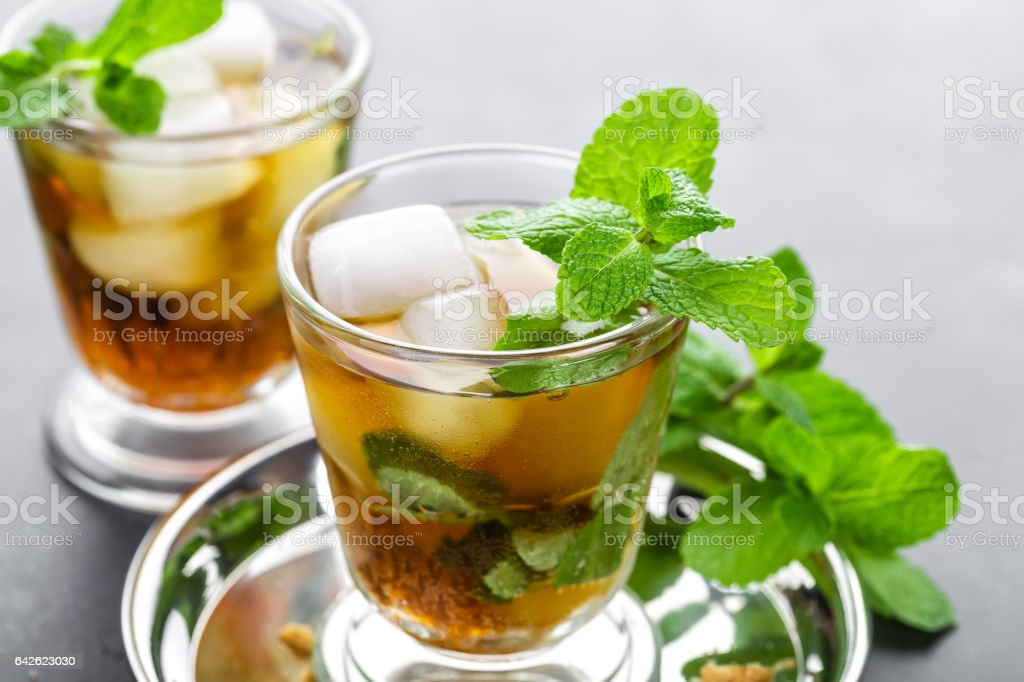 Mint Julep cocktail with bourbon, ice and mint in glass stock photo
