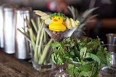 Mint leaves on bar