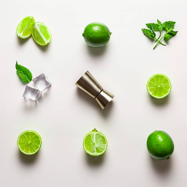 mint, lemon, mocktail, cocktail, glass, bud light, malibu, fresh, frozen, bottle, original, minty, beach, summer stock photo