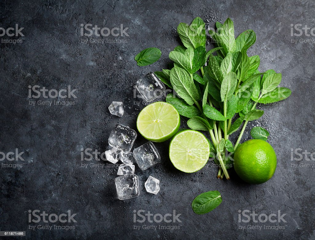 Mint, lime and ice stock photo