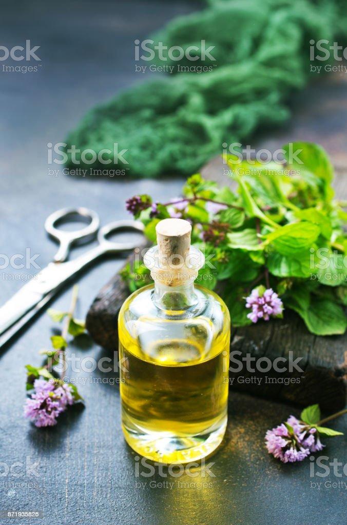 mint oil stock photo