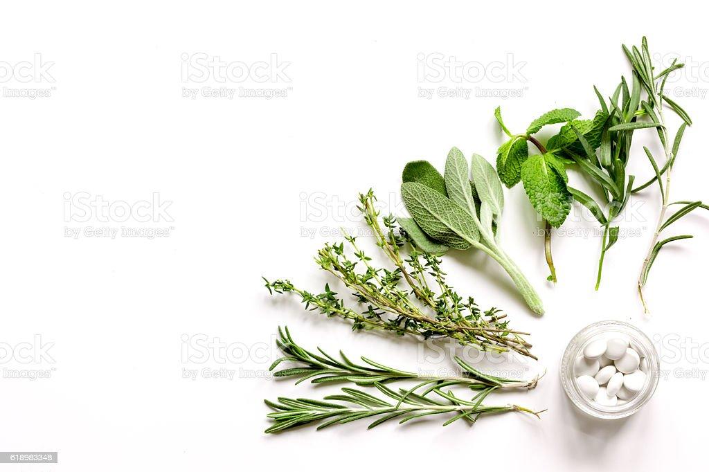 mint, sage, rosemary, thyme - aromatherapy white background stock photo