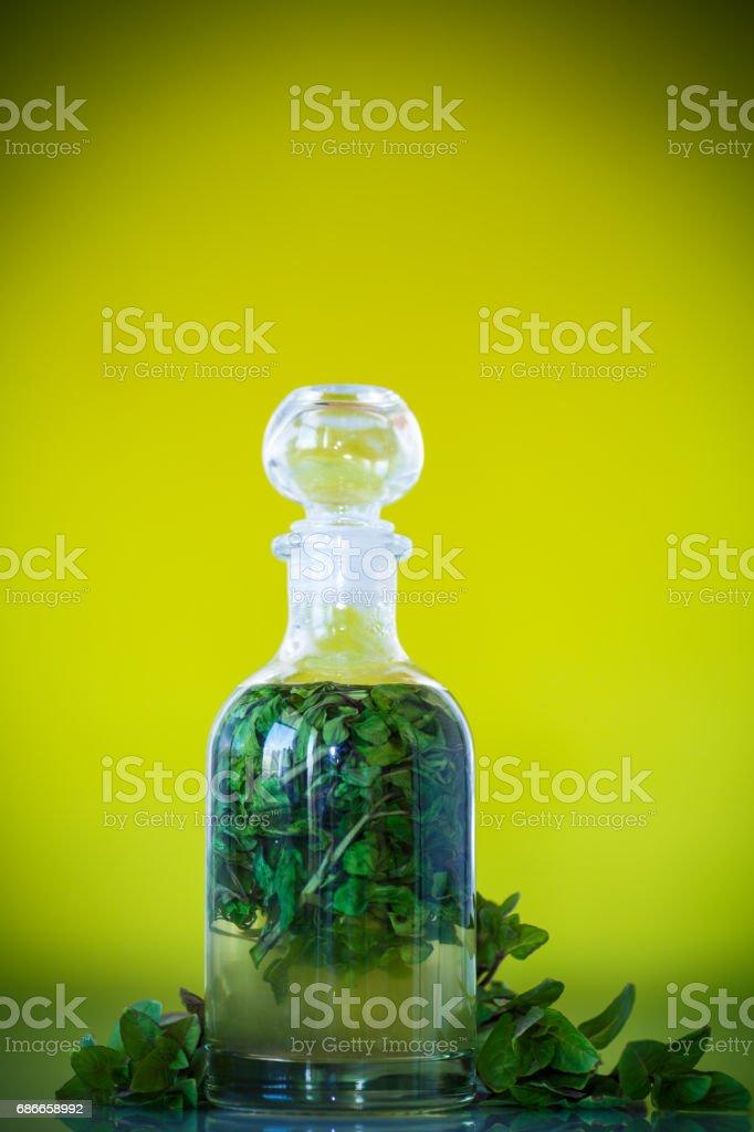 玻璃瓶薄荷糖漿 免版稅 stock photo