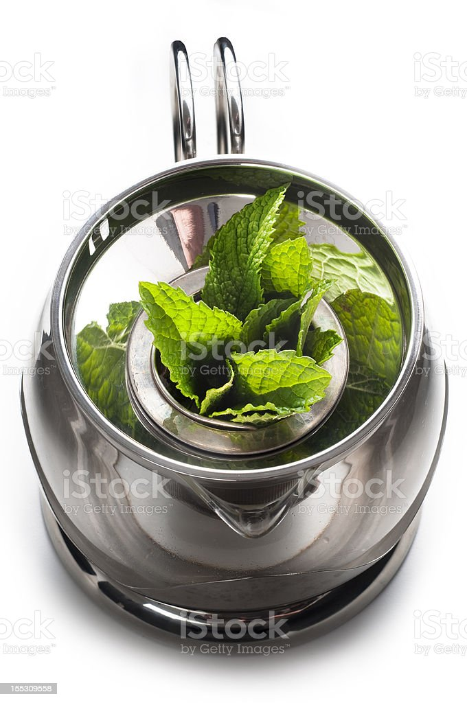 mint tea with fresh leaves royalty-free stock photo