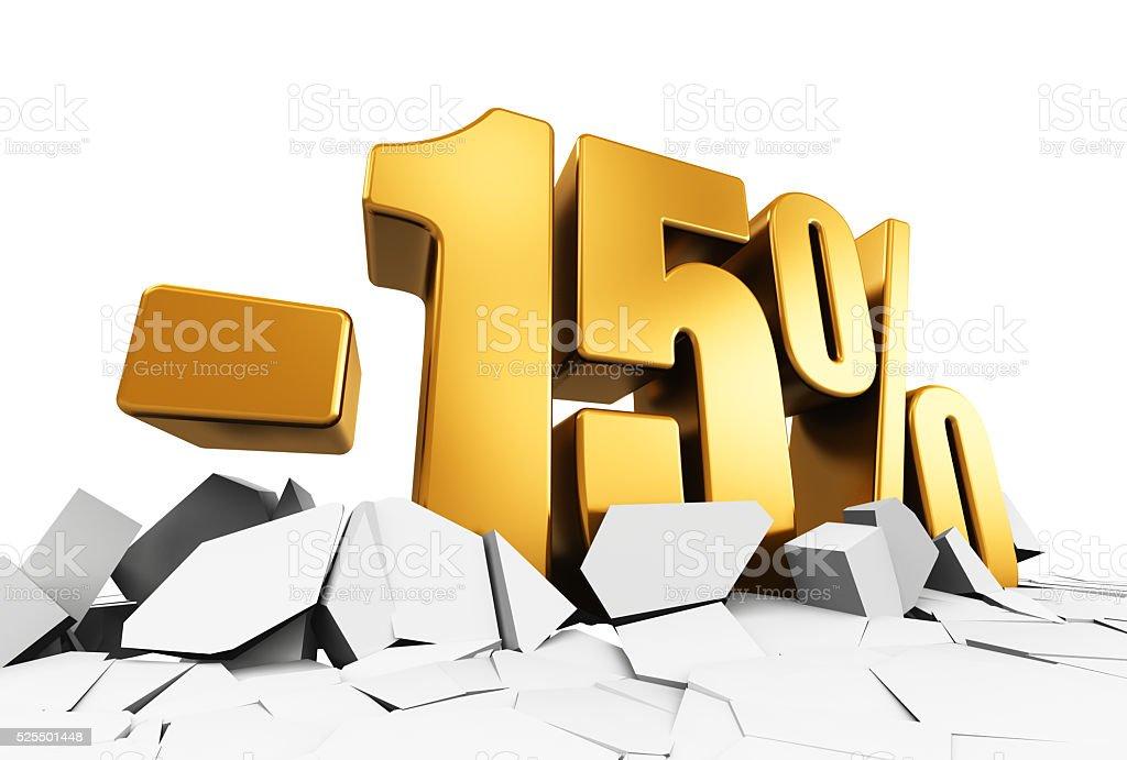 Minus 15 percent sale and discount advertisement concept stock photo