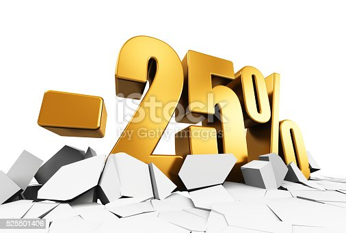 istock Minus 25 percent sale and discount advertisement concept 525501406