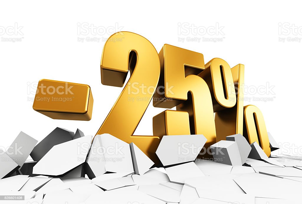 Minus 25 percent sale and discount advertisement concept stock photo