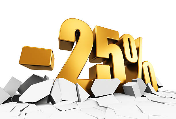 Minus 25 percent sale and discount advertisement concept Creative abstract sale and discount business commercial advertisement concept: 3D render illustration of golden minus 25 percent price cut off text on cracked surface isolated on white background minus sign stock pictures, royalty-free photos & images