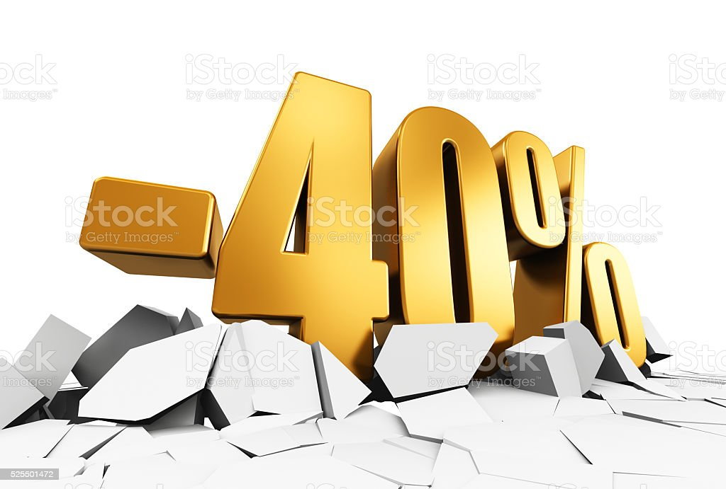 Minus 40 percent sale and discount advertisement concept stock photo