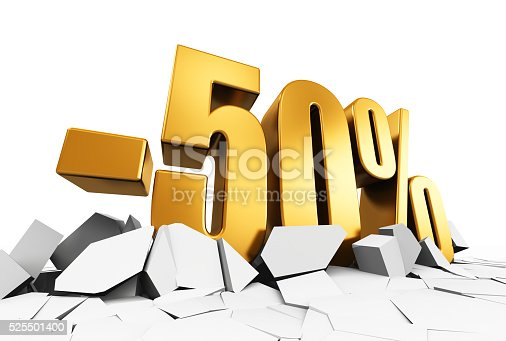 Creative abstract sale and discount business commercial advertisement concept: 3D render illustration of golden minus 50 percent price cut off text on cracked surface isolated on white background