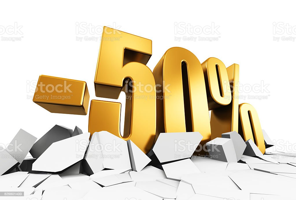 Minus 50 percent sale and discount advertisement concept stock photo