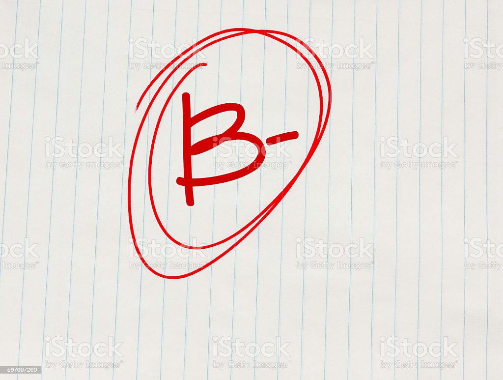 B minus (B-) grade written in red on notebook paper stok fotoğrafı