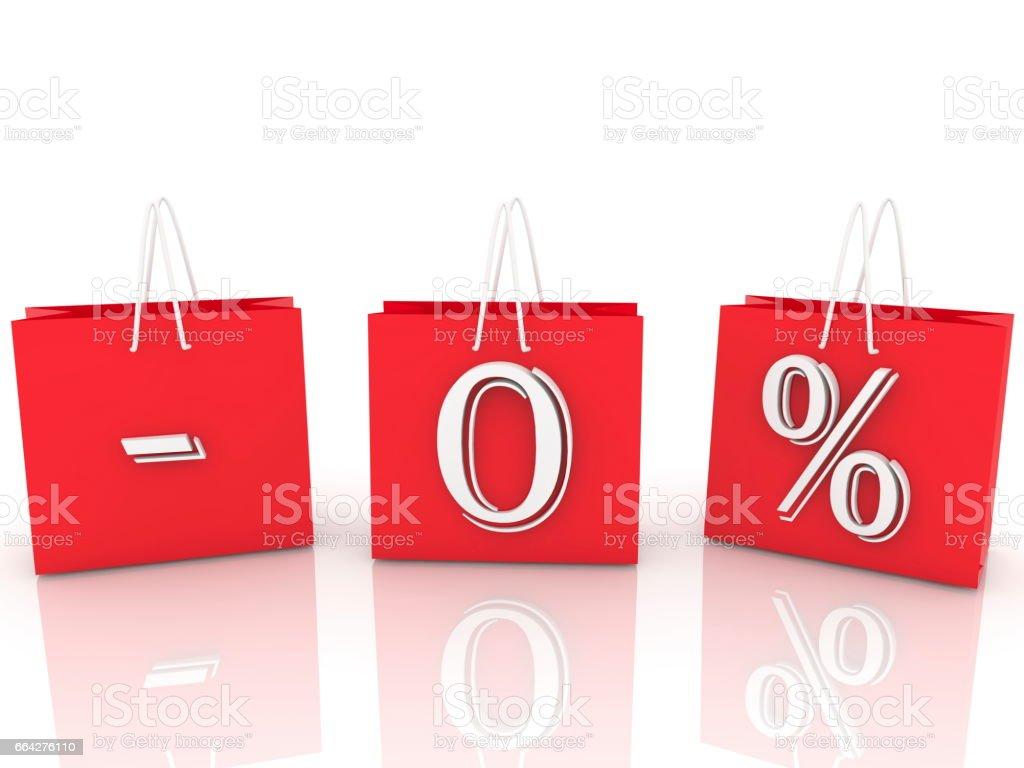 Minus zero percent sign stock photo