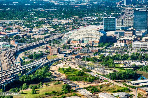Houston, United States - April 10, 2019:  Aerial view of Minute Made Park in downtown Houston, Texas; the home field of Major League Baseball's Houston Astros.